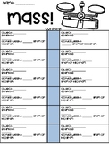 Mass Comparing Worksheet