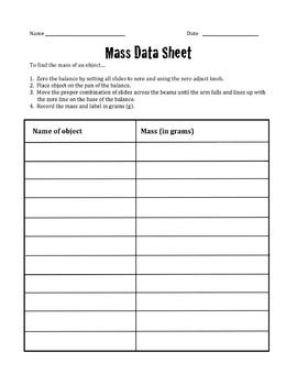 Mass Data Sheet