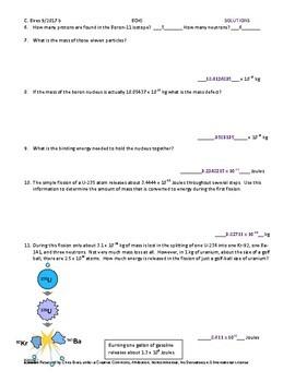 Mass Defect and Binding Energy Practice Worksheet