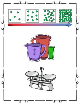 Mass, Density, and Volume interactive notebook, experiments, and vocab matching