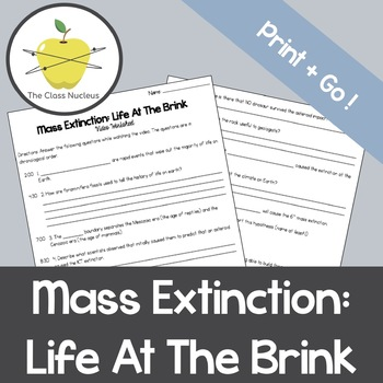 Mass Extinctions: Life At The Brink Video Worksheet