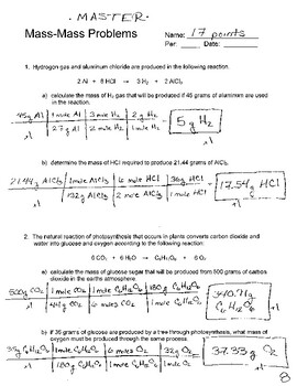 Mass Mass Stoichiometry Problems by Science and The Big ...