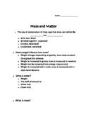 Mass, Matter, and Conservation of Mass
