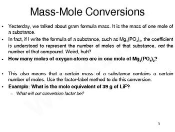 Mass-Mole Conversions