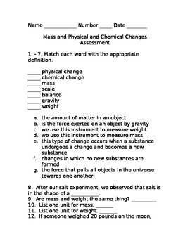 Mass, Physical, and Chemical Changes Assessment