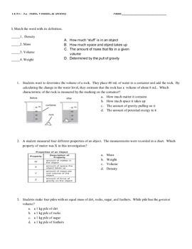 Mass, Volume, Density Assessment