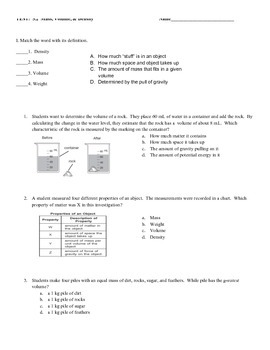Mass, Volume, Density Assessment