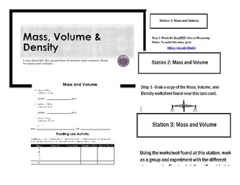 Mass, Volume & Density Lesson and Stations