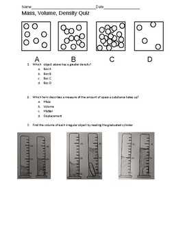 Mass, Volume, Density Quiz