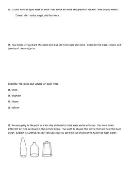 Mass, Volume, Density Study Guide