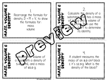 Mass, Volume & Density Task Cards - with or without QR codes