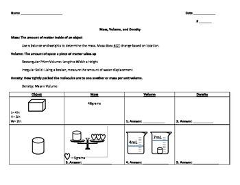 Mass, Volume, Density Worksheet