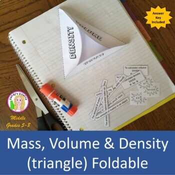 Mass, Volume & Density (triangle) Foldable