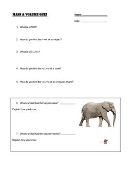 Mass & Volume Quiz