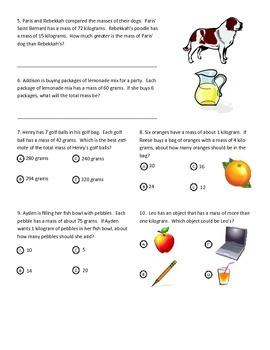 Mass & Volume Test (3rd Grade Common Core)