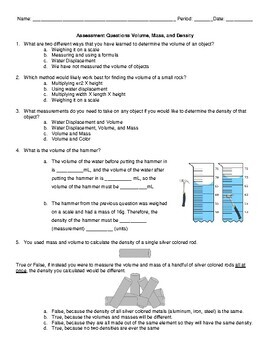 Mass, Volume, and Density Assessment