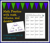 Mass, Volume, and Density Math Practice