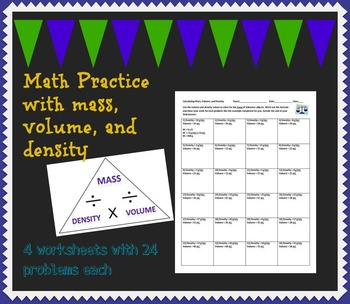 Mass, Volume, and Density Math Practice