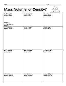 Mass, Volume, or Density?
