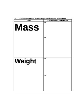 STEM/NGSS: Physics Mass, Weight & Newton's Laws ASSESSMENT