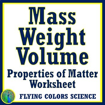 Mass Weight Volume Homework Worksheet Or Test Review Middle School