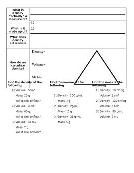 Mass, Weight, and Density Guided Notes
