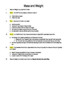Mass, Weight, and Forces Outline Notes and Quiz