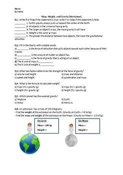 Mass, Weight, and Gravity - Worksheet