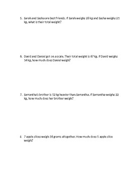 Mass Word Problems (kg and grams)