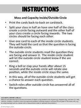 Mass and Capacity Inside/Outside Circle