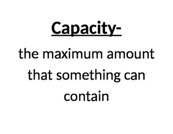 Mass and Capacity Vocabulary Posters