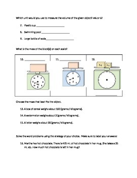 Mass and Volume Assessment- Editable