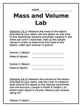 Mass and Volume Lab, items of your choice!