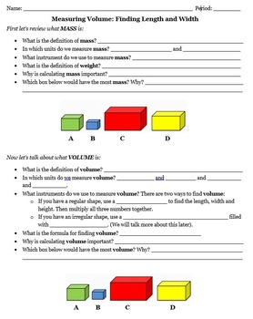 Mass and Volume PPT and Handout