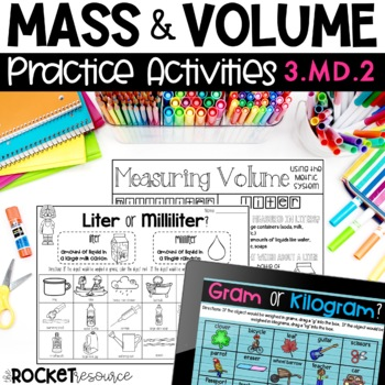 Mass and Volume:  Task Cards and Practice Pages to support 3.MD.2