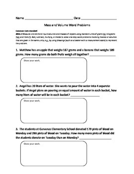 Mass and Volume Word Problem Worksheet (Common Core Standard 3MD.2)