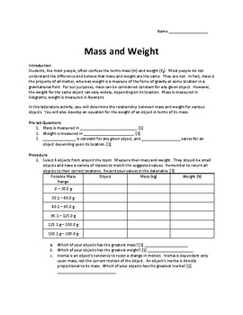 Mass and Weight Lab