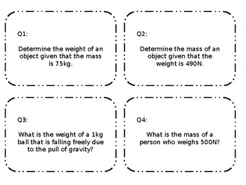 Editable Mass and Weight Task Card Practice
