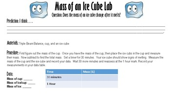 Mass of an Ice Cube Lab