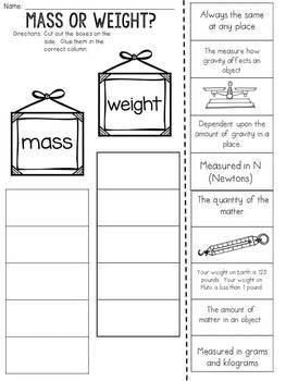 Mass and Weight: Cut and Paste Sorting Activity