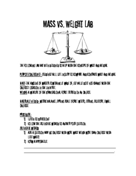 Mass vs. Weight Lab