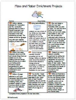 Mass & Matter Projects, Vocabulary Handout