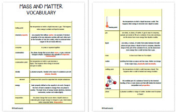 Mass & Matter Projects, Vocabulary Handout
