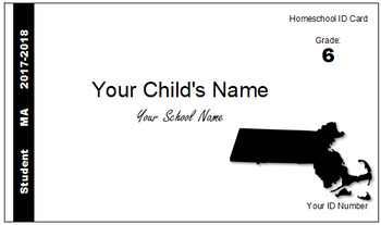 Massachusettes (MA) Homeschool ID Cards for Teachers and Students