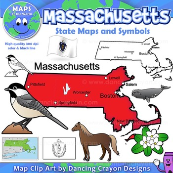 Massachusetts State Symbols and Map Clipart