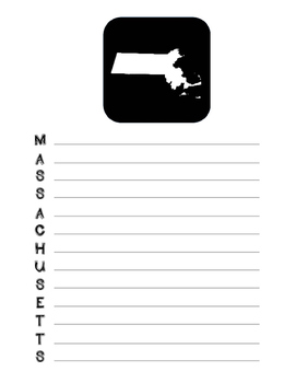 Massachusetts State Acrostic Poem Template, Project, Activity, Worksheet