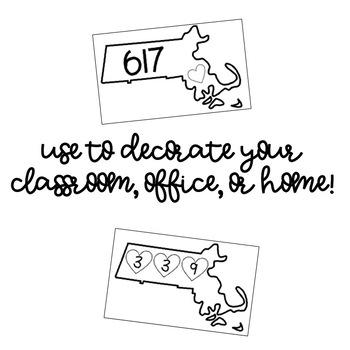 Massachusetts Area Code Decor Posters