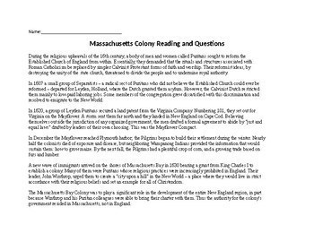 Massachusetts Bay Colony Reading and Questions