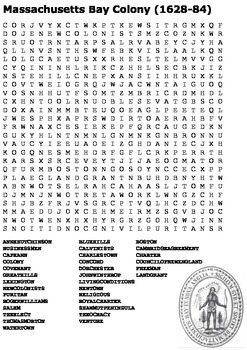 Massachusetts Bay Colony Word Search