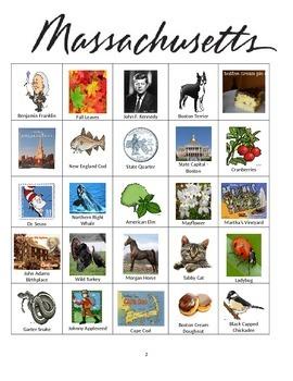 Massachusetts Bingo:  State Symbols and Popular Sights